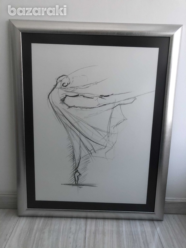Drawing with charcoal and frame-1