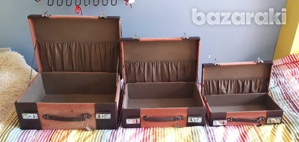 Vintage style wooden suitcase set of 3 / βαλίτσες.-6