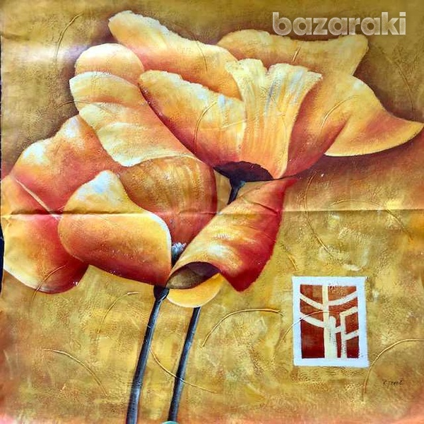 Huge flowers painting oil on canvas-1