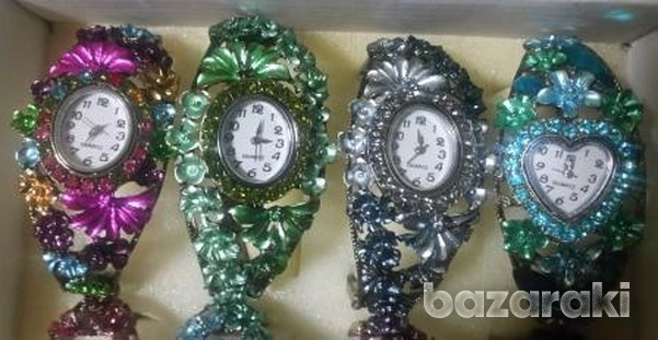 Fashion women crystal bangle bracelet rhinestone dress watch-1