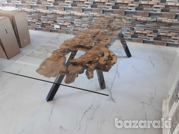 Olive wood dining table with glass top-2