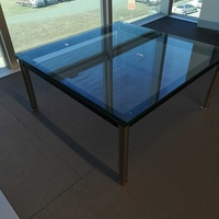 Glass coffee table lc10 - le corbusier style - 80cm steel