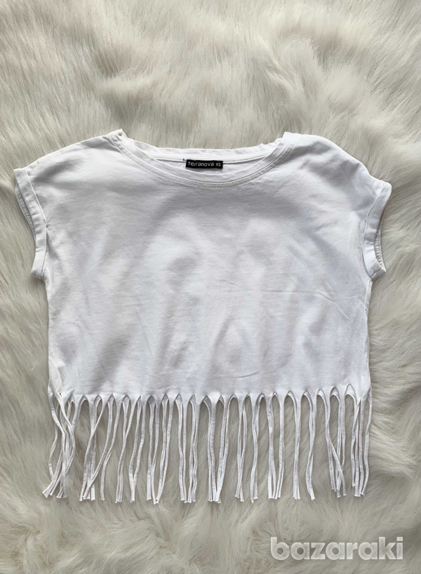 Terranova white crop top with fringes
