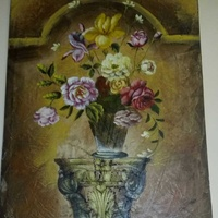 Giant shabby chic canvas painting