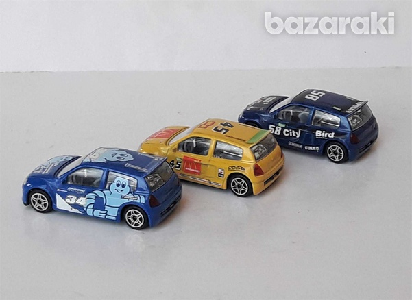 Lot of 3 burago diecast model rally cars renault clio trophy 1/43 scal-4