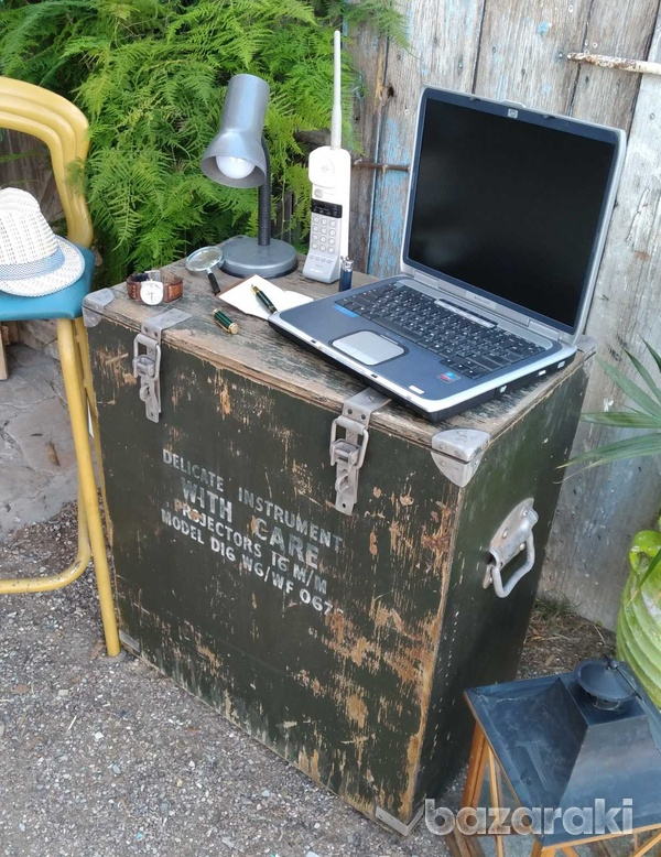 Vintage army large projector box on casters.-3