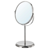 Double sided magnifying make up table mirror stainless steel frame