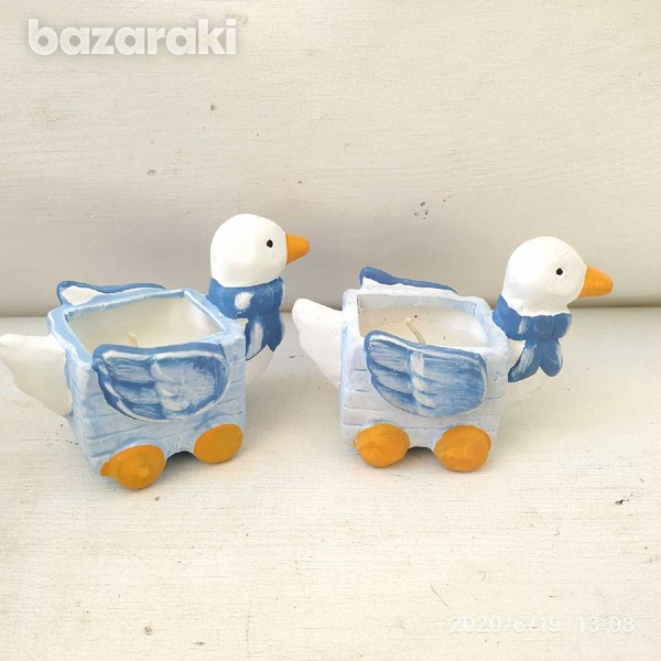 2 porcelain duck candle holders33-2