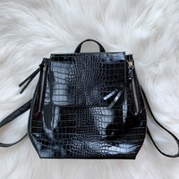 Stradivarius black croc backpack