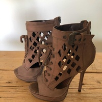 High heels brown ankle booties