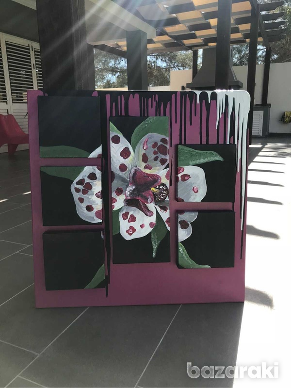 Handmade painting of a blooming orchid-4