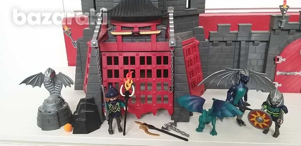 Playmobil dragons 2 castles and an ext. wall connecting them-3