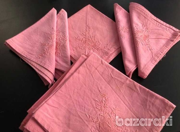 Dozen pink cloth embroidered napkins-1