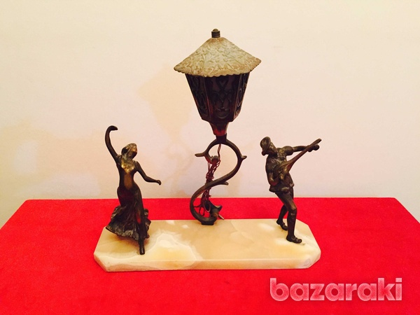 Solid brass figurines on onyx base-1