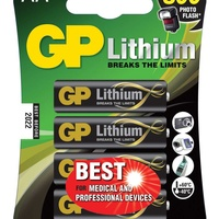 Gp lithium battery aa pack of 4 656.334uk