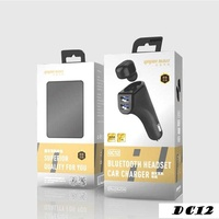 2 in 1 dual usb car charger with wireless bluetooth 4 2 headsets multi