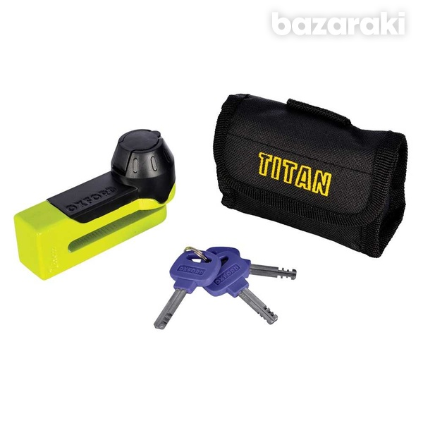 Oxford titan yellow disc lock and pouch of51