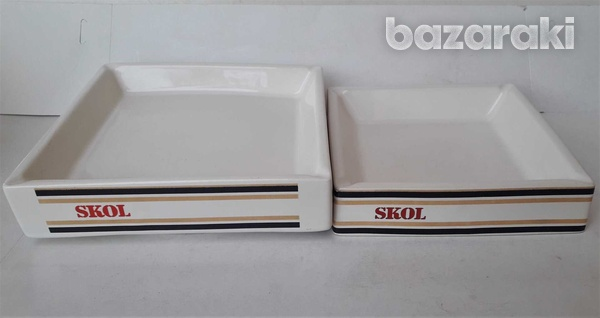 Lot of 2 vintage collectible ceramic porcelain ashtrays advertising sk-2