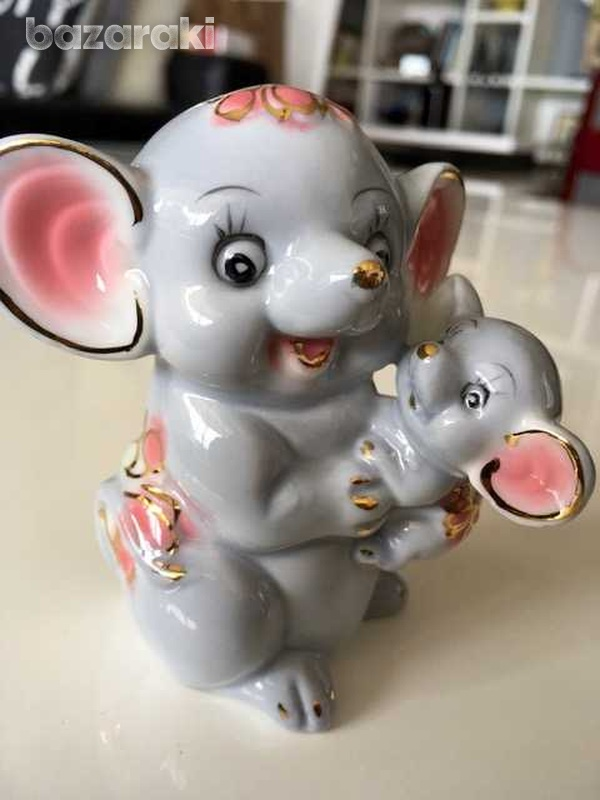 Lladro style mother and baby elephants-1