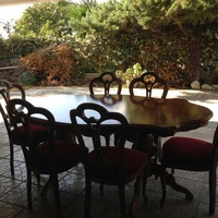 Dinning table and six chairs, coffee table, settee and 2 arm chairs.