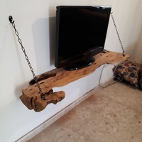 Natural olive wood tv stand