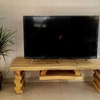 Natural wood tv stand