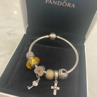 Pandora bangle bracelet with charms