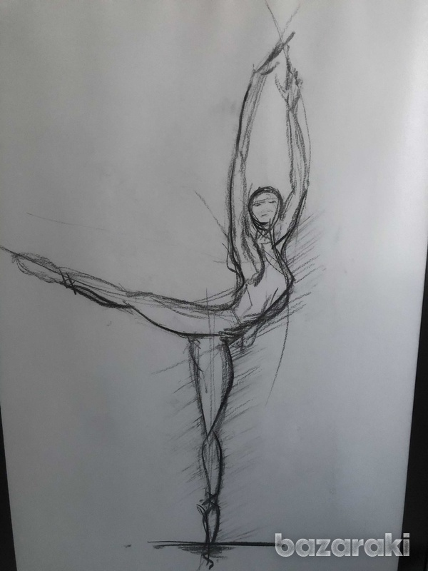 Drawing with charcoal and frame-2