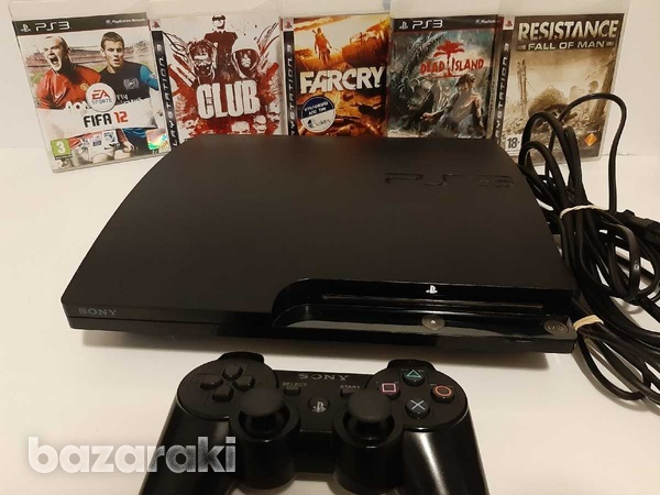 Playstation 3 slim 250gb with 5 games and controller-1