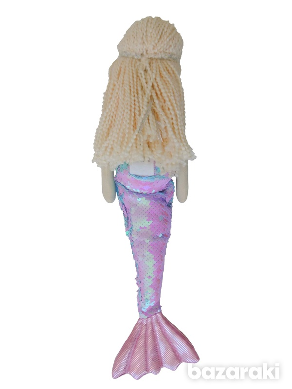 Mermaid doll pink sequins color - plush toy - κούκλα γοργόνα-3