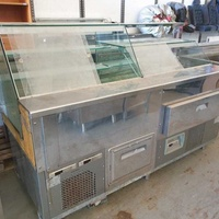 2 x adjoining clam stainless steel and glass display fridges with fridge cupboar