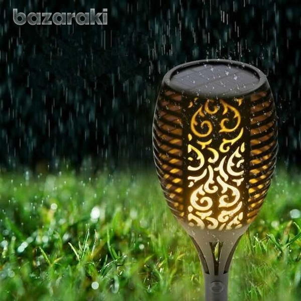 Led waterproof outdoor solar dancing flame light garden flickering lam-2
