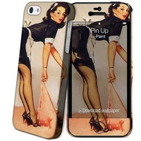 Ipaint pin up paint hard case skin free screen protector for iphone 5