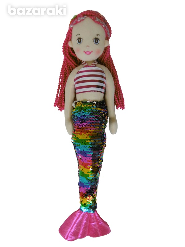 Mermaid doll multicolor sequins color - plush τoy - κούκλα γοργόνα-2