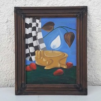 Vintage painting in wooden frame for decor or collection.