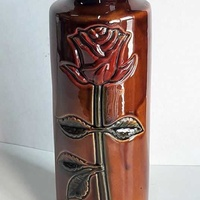 Vintage ceramic vase with rose hand made and painted 20cm high