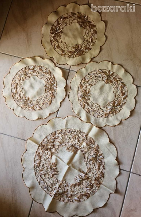 Four round table cloths - one large + three small-1