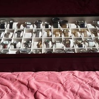 Watch glass top ebony finish display storage case box