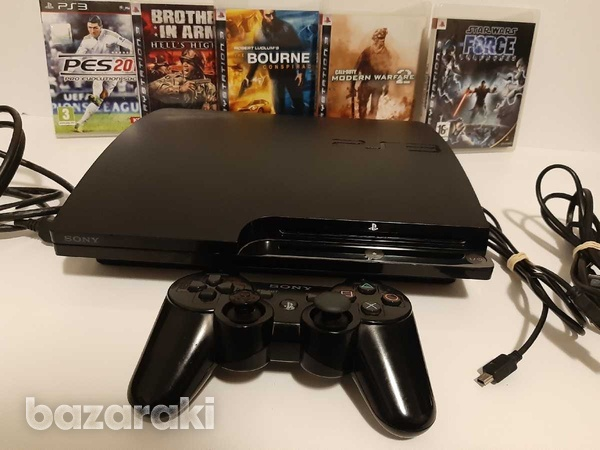 Playstation 3 ps3 slim with 1 controller and 5 games-1