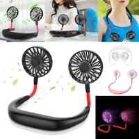 Portable usb rechargeable neck desk cooling fan led light