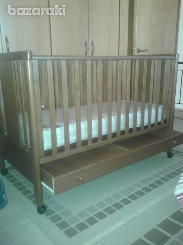 Wooden cot with drop side and drawer-4