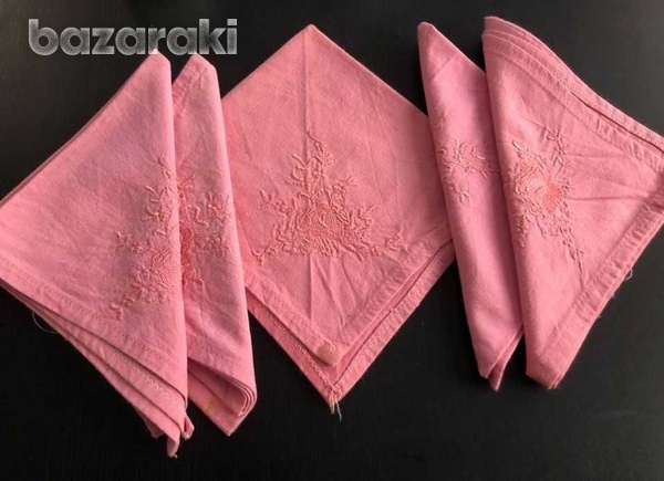 Dozen pink cloth embroidered napkins-2