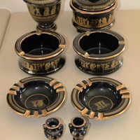 Various vintage collectibles - black with 24k gold - made in greece