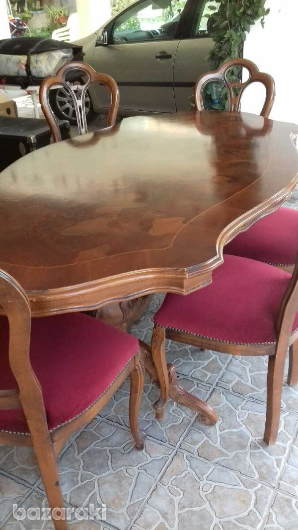 Dinning table and six chairs, coffee table, settee and 2 arm chairs.-8