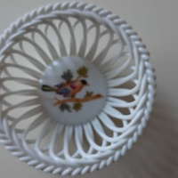 Small circular herend porcelain from hungary hand painted