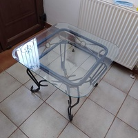Iron site table with glass