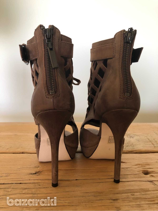 High heels brown ankle booties-8
