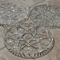 Cut glass - czech star pattern - set of 3 serving platters with raised edges