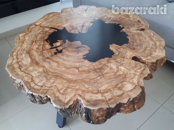 Coffee table with olive wood and dark epoxy-3