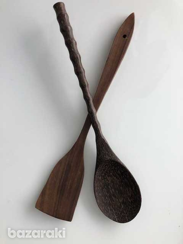 Salad set of a huge wooden spoon and a spadula-1